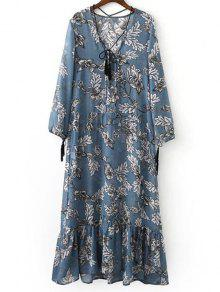 Printed Plunging Neck Long Sleeve Maxi Dress - Ice Blue S
