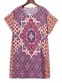 فستان قصيرة الأكمام دائرة الرقبة طباعة - M