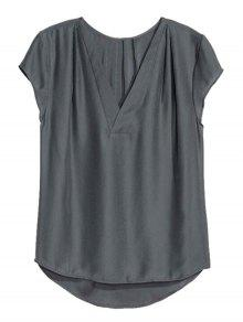 Loose Solid Color V Neck Short Sleeve T-Shirt - Deep Gray Xl