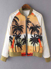 Coconut Tree Print Stand Neck Long Sleeve Jacket - Yellow S