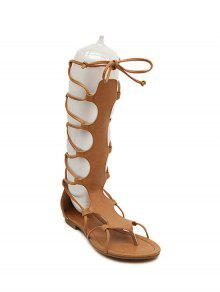 Buy High Top Solid Color Flat Heel Sandals - BROWN 36