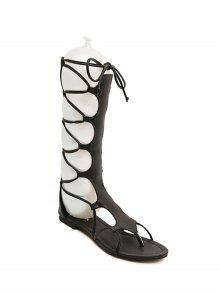 Buy High Top Solid Color Flat Heel Sandals - BLACK 35