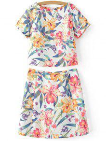 Recortada De La Impresión Floral De La Camiseta Y La Mini Falda De Twinset - Blanco S