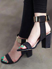 Black Flock Chunky Heel Sandals