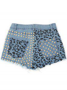 Denim Rivet Embellished Pockets Shorts - Ice Blue S