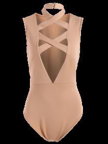 Plunging Neck Crisscross Strap Bodysuit - Apricot 2xl