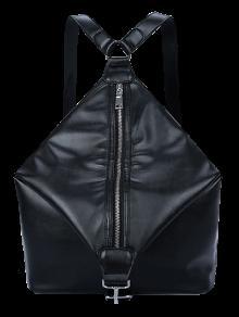 Buy Zip PU Leather Metal Backpack - BLACK