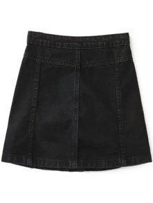 A Line Button Up Denim Skirt BLACK: Skirts M | ZAFUL
