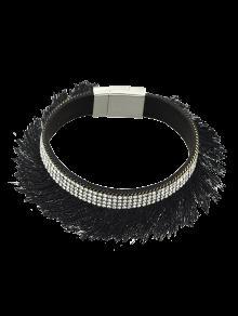 Buy Rhinestone Faux Leather Tassel Bracelet - BLACK