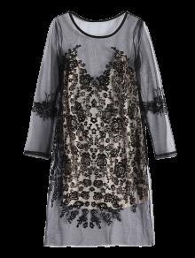 فستان طويلة الأكمام شفاف شبكي دانتيل - أسود