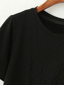 Redondo Manga Empalmado Corta S Negro Cuello Camiseta De Borlas De La qPtpwIw