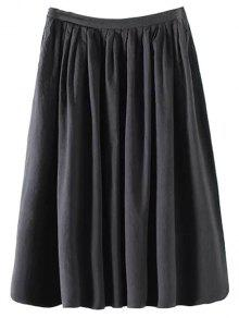 Solid Color High Waist A-Line Pleated Skirt - Black M