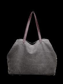 قماش خياطة الكتف حقيبة - رمادي