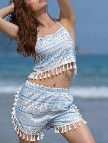Printed Halter Crop Top And Shorts Twinset - Blue And White M