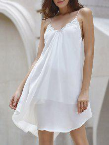 Backless Solid Color Spaghetti Straps Dress - Off-white S