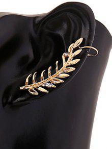 Rhinestones Leaf Clip Earring - Golden
