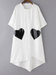 فستان مخطط بجيوب حاشية غير منتظمة - أبيض L