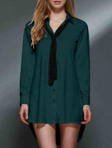 Bowknot Embellished Tunic Shirt Dress - Green 2xl