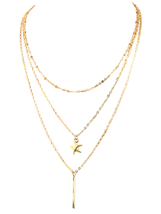 Collier avec pendentif Layered Starfish - Or