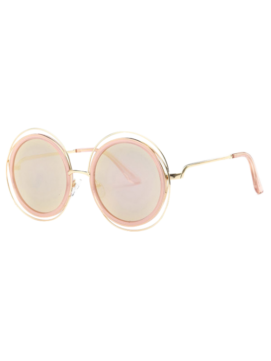 new Cut Out Round Mirrored Sunglasses - ROSE GOLD