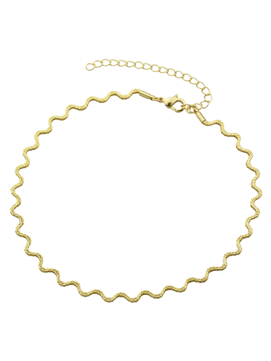 unique Alloy Wavy Choker Necklace - GOLDEN