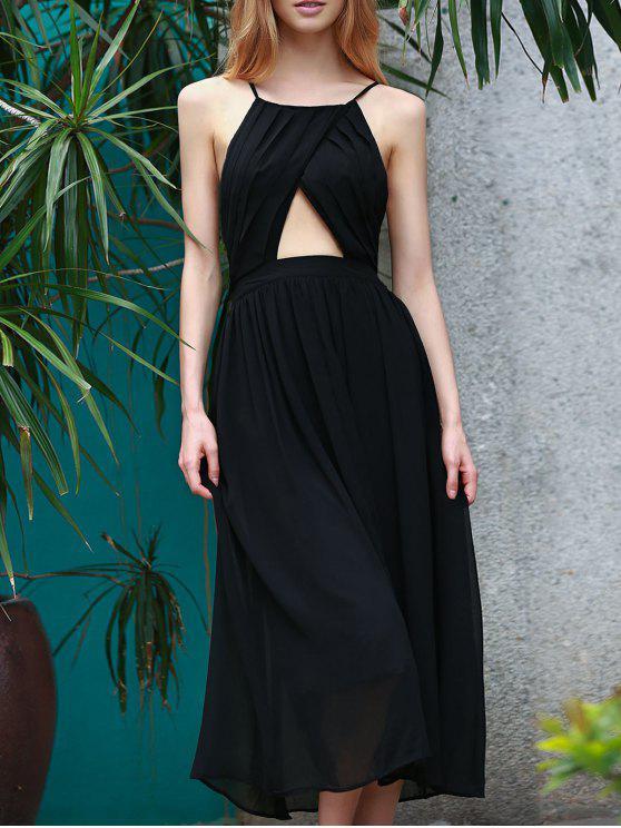 Vestido de Fiesta de Gasa sin Espalda con Tira Cruzada - Negro S