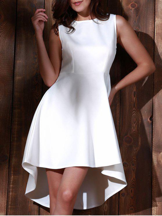 buy High Low Sleeveless White Evening Dress - WHITE L