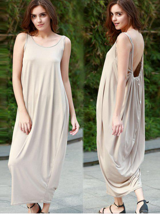 trendy Baggy Maxi Tank Dress - KHAKI M