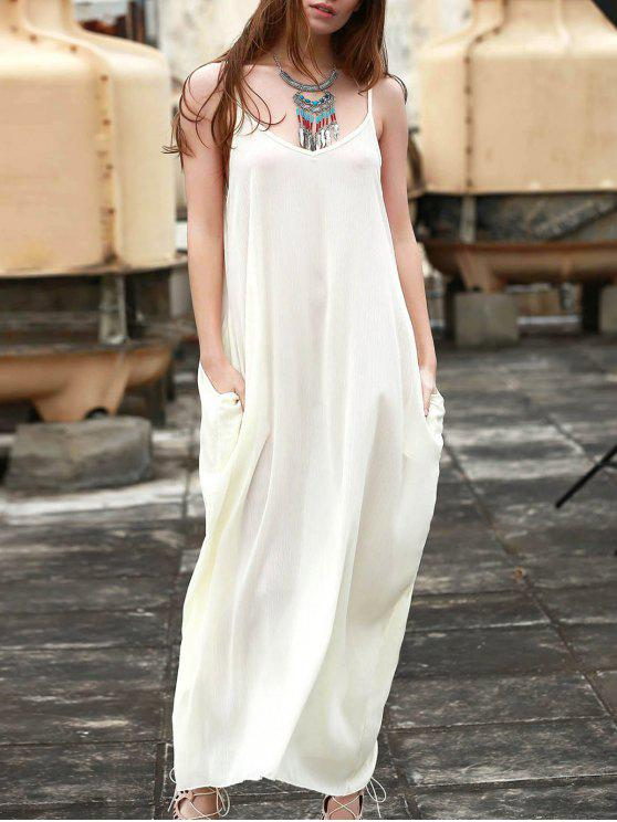 Maxi Vestido sin Manga de Color Monocromático con Tirante Fino - Blanco S