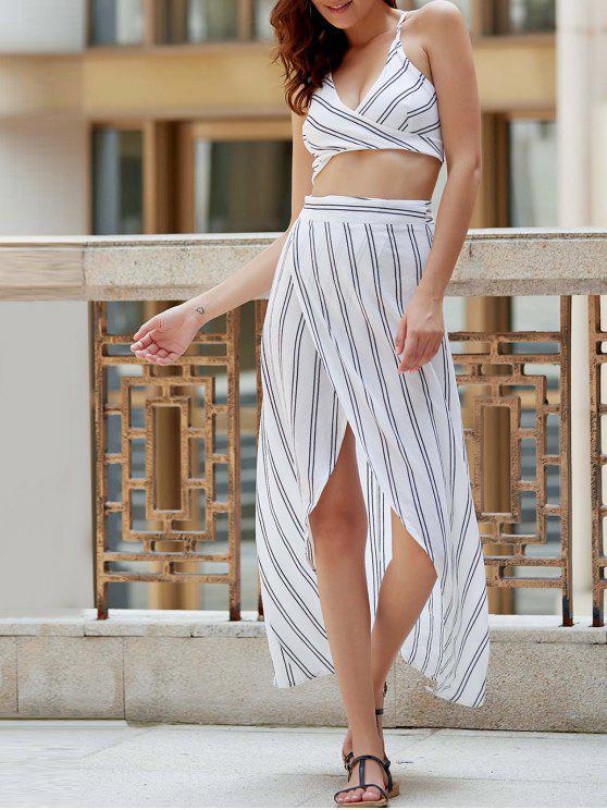 Sin espalda rayada Tirantes delgados Camisa corta - Blanco S