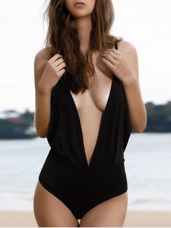 latest Plunge Backless One-Piece Swimwear - BLACK L