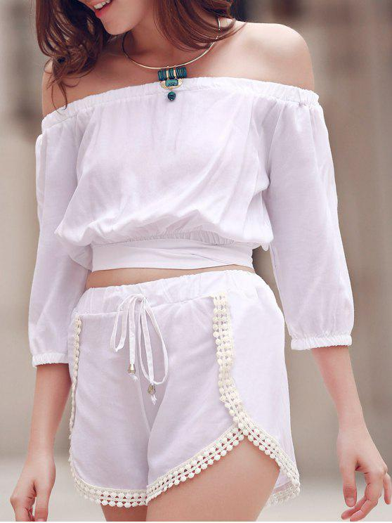 latest Off The Shoulder Crop Top and Solid Color Shorts Suit - WHITE L