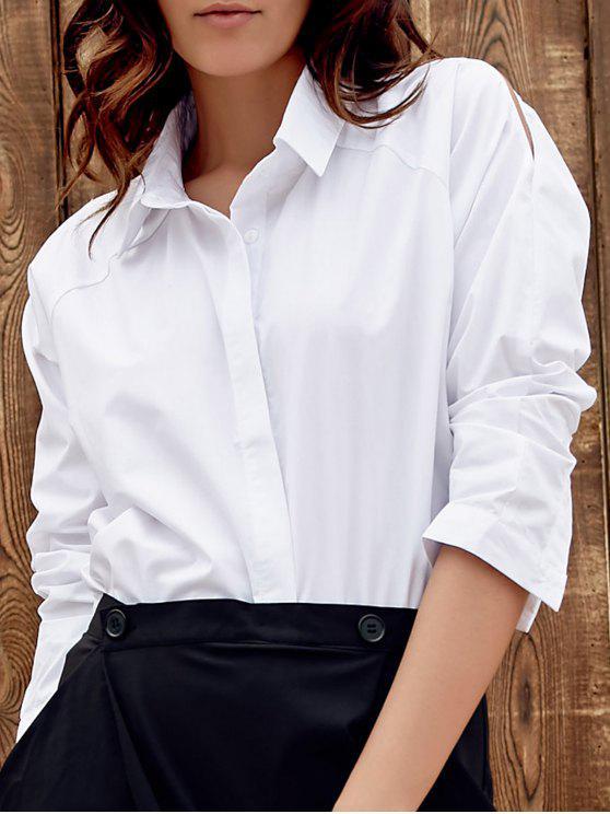 Blanco flojo fotografica vuelta-abajo a la camisa de manga larga - Blanco L