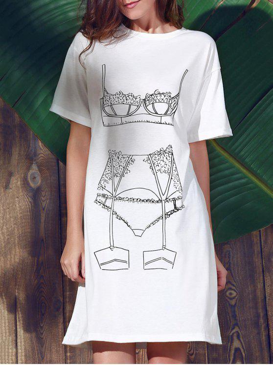 Beiläufige lose gedruckt Rundhals Kurzarm-Kleid - Weiß L
