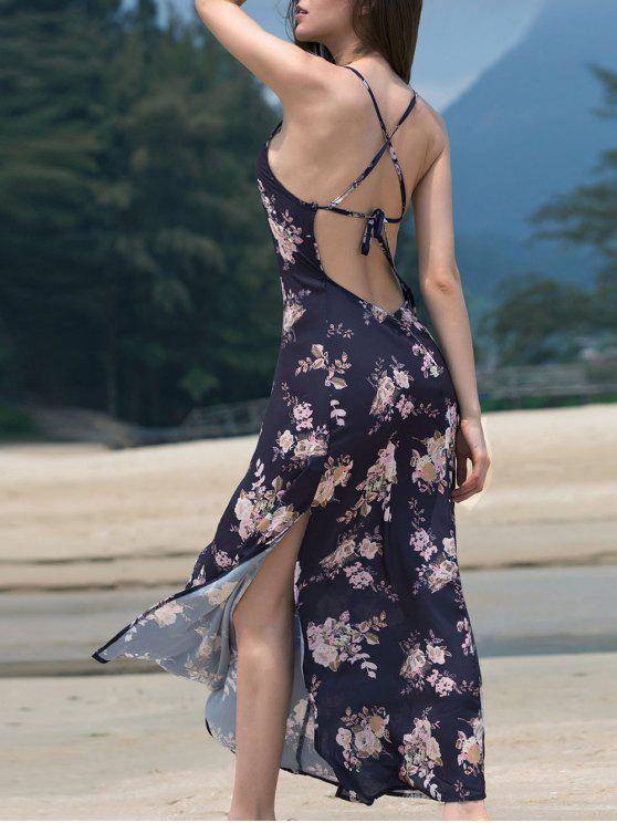 Hendidura de alta correas espaguetis sin espalda vestido maxi impreso - Marina de Guerra XL