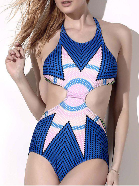 outfit Printed Hollow Out Halter One-Piece Swimwear - BLUE M
