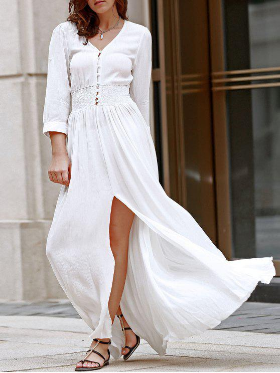 fashion White V Neck 3/4 Sleeve Slit Maxi Dress - WHITE M