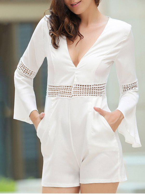 lady Cut Out Lace Splicing Plunging Neck Flare Sleeve Romper - WHITE M