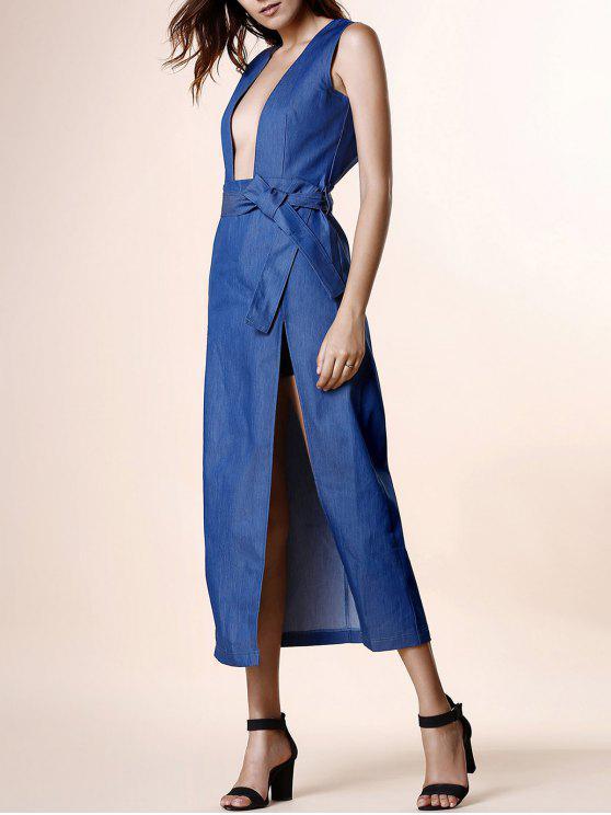 womens High Slit Plunging Neck Sleeveless Denim Dress - BLUE L