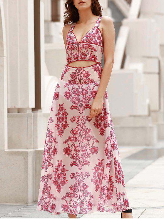 chic Waist Cutout Maxi Beach Dress - RED WITH WHITE XL