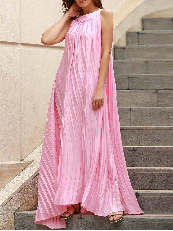 fancy Pleated Flared Long Dress - PINK ONE SIZE(FIT SIZE XS TO M)