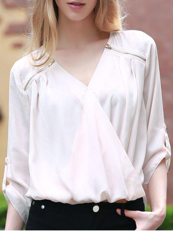 Color sólido con cuello en V manga 3/4 cruzadas de la blusa - Rosa Luz L