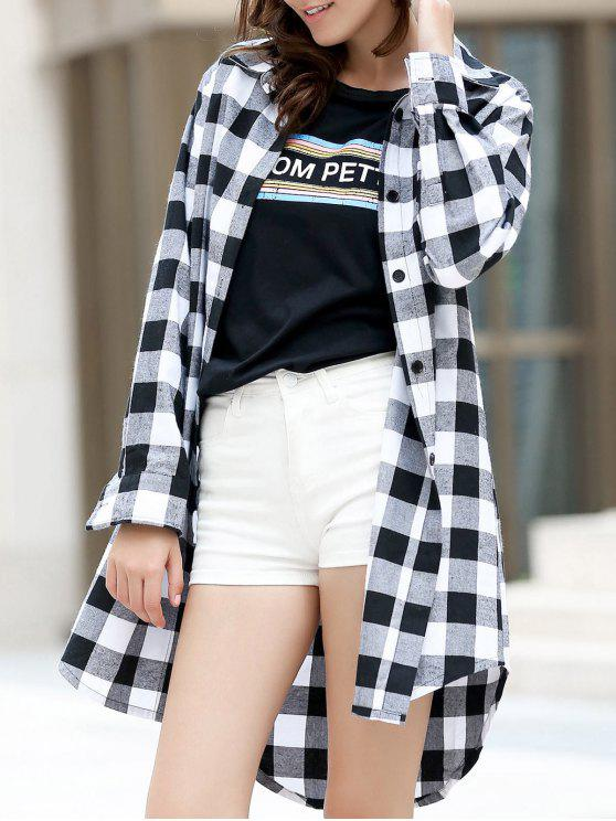 chic Checked High-Low Shirt Collar Long Sleeve Dress - BLACK S