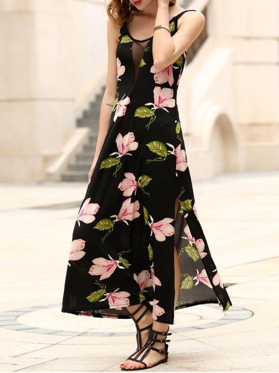 hot Floral Print Side Vent Prom Dress - BLACK M