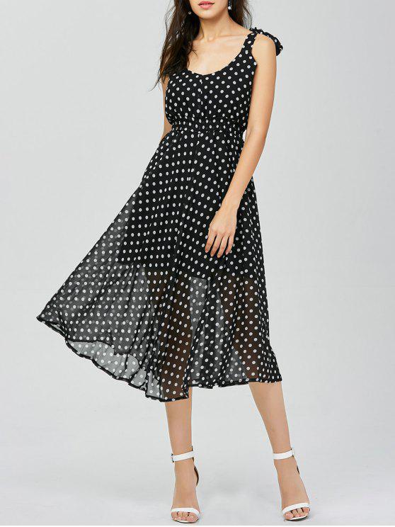 فستان ميدي البولكا نقطة - أسود L