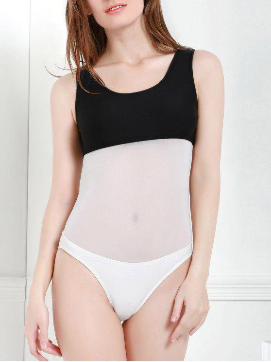 Color Block Hollow One-Piece Swimwear - Branco e Preto M