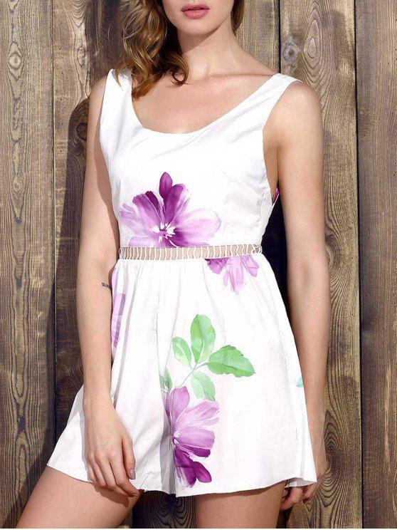 Floral mangas perna larga Romper - Branco M