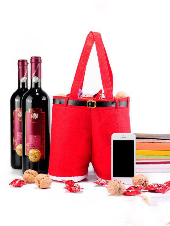 shops Christmas Santa Pants Red Wine Bag - RED