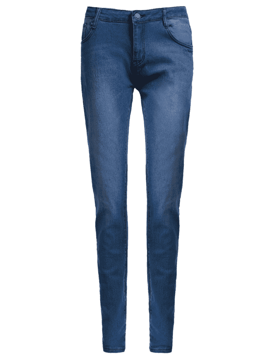 unique High Waisted Skinny Pencil Jeans - BLUE L