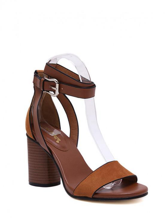 lady Chunky Heel Suede Ankle Strap Sandals - BROWN 34